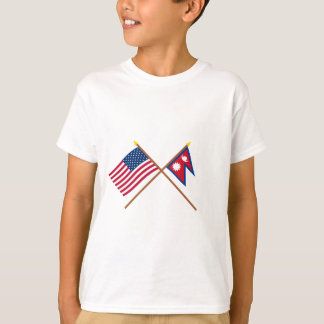 US and Nepal Crossed Flags T-Shirt
