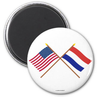 US and Netherlands Crossed Flags 6 Cm Round Magnet