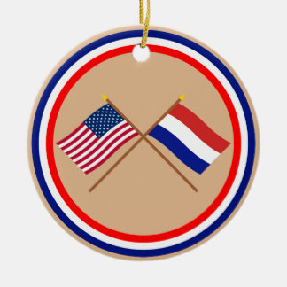 US and Netherlands Crossed Flags Christmas Ornament