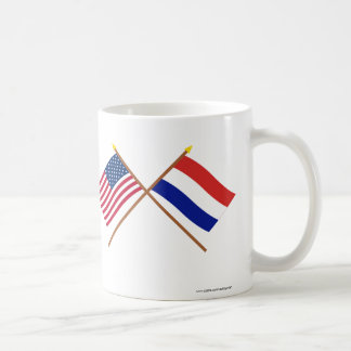 US and Netherlands Crossed Flags Coffee Mug