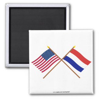 US and Netherlands Crossed Flags Square Magnet