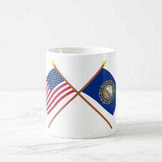 US and New Hampshire Crossed Flags Coffee Mug