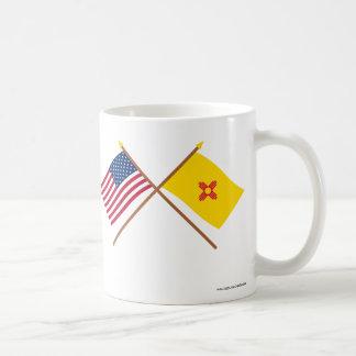 US and New Mexico Crossed Flags Basic White Mug