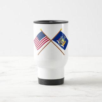 US and New York Crossed Flags Coffee Mugs