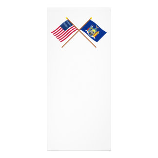 US and New York Crossed Flags Custom Rack Cards