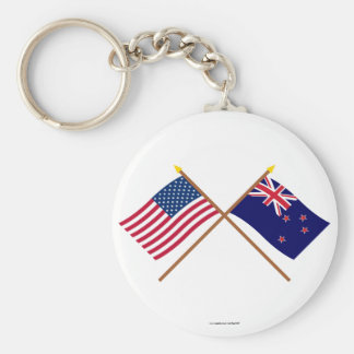 US and New Zealand Crossed Flags Key Ring