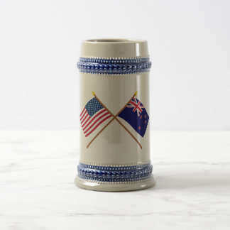 US and New Zealand Crossed Flags 18 Oz Beer Stein