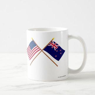 US and New Zealand Crossed Flags Basic White Mug
