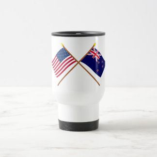 US and New Zealand Crossed Flags 15 Oz Stainless Steel Travel Mug