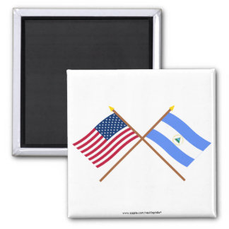 US and Nicaragua Crossed Flags Square Magnet