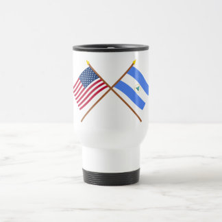 US and Nicaragua Crossed Flags Travel Mug