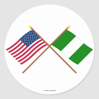 US and Nigeria Crossed Flags Classic Round Sticker