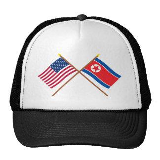 US and North Korea Crossed Flags Cap
