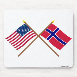 US and Norway Crossed Flags Mouse Mat