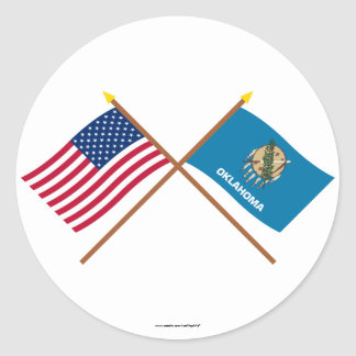 US and Oklahoma Crossed Flags Classic Round Sticker