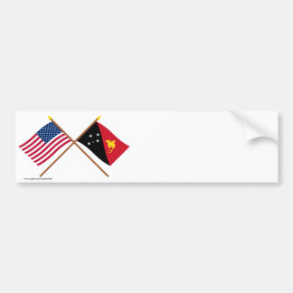 US and Papua-New Guinea Crossed Flags Bumper Sticker