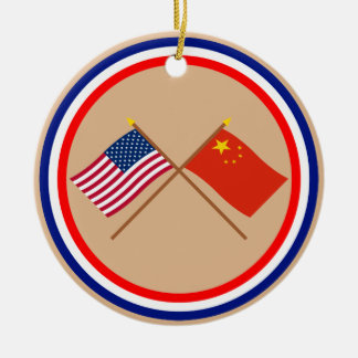US and People's Republic of China Crossed Flags Christmas Ornament
