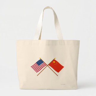 US and People's Republic of China Crossed Flags Large Tote Bag