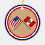 US and Peru Crossed Flags Christmas Ornament