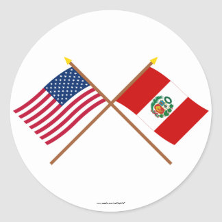 US and Peru Crossed Flags Classic Round Sticker