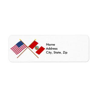 US and Peru Crossed Flags Return Address Label