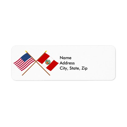 US and Peru Crossed Flags Return Address Label