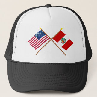 US and Peru Crossed Flags Trucker Hat
