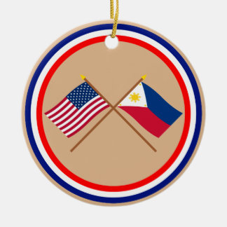US and Philippines Crossed Flags Round Ceramic Decoration