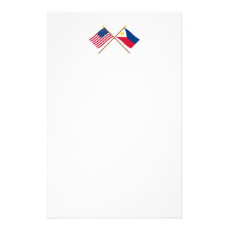 US and Philippines Crossed Flags Custom Stationery