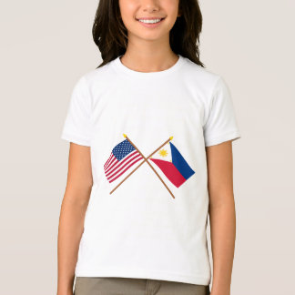 US and Philippines Crossed Flags T-shirts