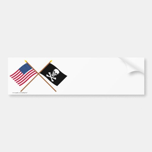 US and Pirate Crossed Flags Bumper Sticker