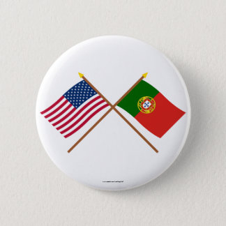 US and Portugal Crossed Flags 6 Cm Round Badge