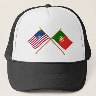 US and Portugal Crossed Flags Trucker Hat