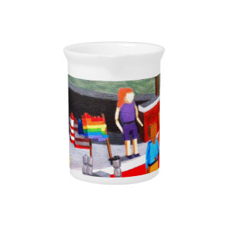 US and Pride Flags made of blocks Pitcher