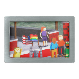 US and Pride Flags made of blocks Rectangular Belt Buckle