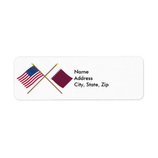 US and Qatar Crossed Flags Return Address Label