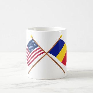 US and Romania Crossed Flags Coffee Mug