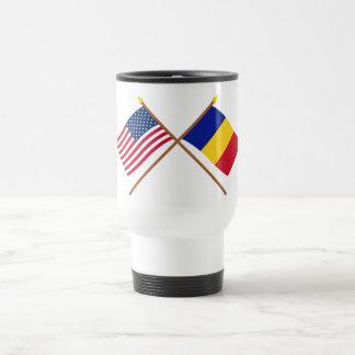US and Romania Crossed Flags Travel Mug