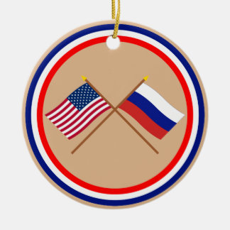 US and Russia Crossed Flags Christmas Ornament