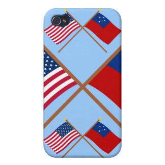 US and Samoa Crossed Flags Case For iPhone 4