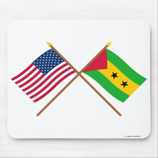 US and Sao Tome & Principe Crossed Flags Mouse Pad