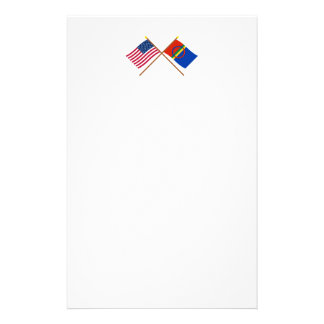 US and Sapmi Crossed Flags Personalized Stationery