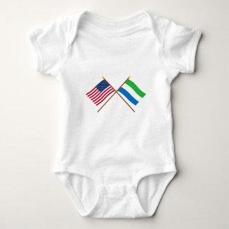 US and Sierra Leone Crossed Flags Baby Bodysuit