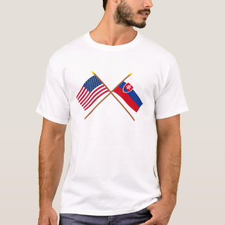 US and Slovakia Crossed Flags T-Shirt
