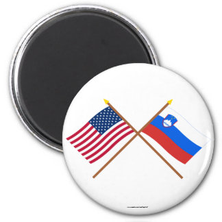 US and Slovenia Crossed Flags 6 Cm Round Magnet