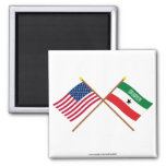 US and Somaliland Crossed Flags Square Magnet