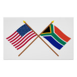 US and South Africa Crossed Flags