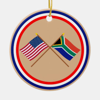 US and South Africa Crossed Flags Christmas Ornament