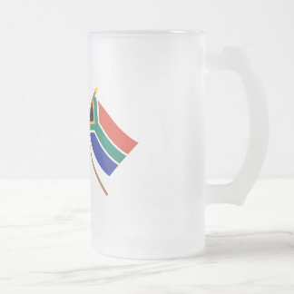 US and South Africa Crossed Flags Frosted Glass Beer Mug