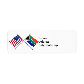US and South Africa Crossed Flags Return Address Label
